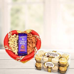 Dry Fruits Combo With Ferrero Rocher: Gifts For Brother Army Head Quarter,  Indore