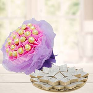 Ferrero Rocher Bouquet With Sweets: Gift Malwa Mills,  Indore