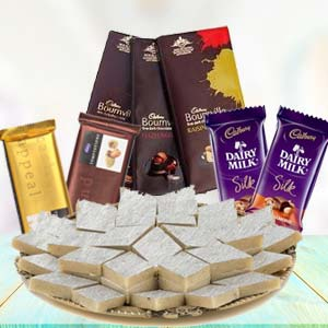 Sweets Combo With Assorted Chocolates: Gifts For Brother Army Head Quarter,  Indore