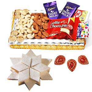 Dry Fruits Combo Thali With Sweets: Gift Javeri Bagh,  Indore
