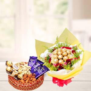 Special Dry Fruits Thali With Chocolates: Gifts For Brother Burankhedi,  Indore