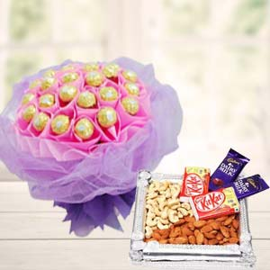 Ferrero Rocher Bunch With Combo Thali: Gift Dudhia,  Indore