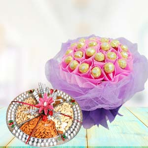 Ferrero Rocher With Dry Fruits Thali: Gifts For Brother Army Head Quarter,  Indore