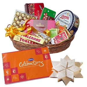 Assorted Chocolates Basket With Kaju Katli: Gifts For Brother Tukoganj,  Indore