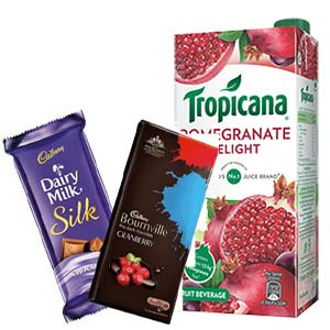 Tropicana Pomegranate With Chocolates: Gift Dudhia,  Indore