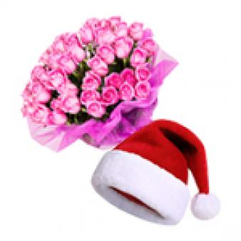 Christmas Celebration With Pink Roses: Christmas Industrial Area,  Indore