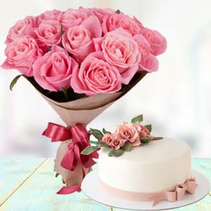 Pink Roses With Cream Cake: Birthday  Indore