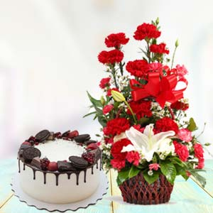 Red Carnations With Oreo Cake: Gift New Palasia,  Indore
