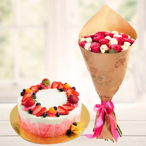 Strawberry Fruit Cake With Roses: Rose Day Sadar Bazar,  Indore