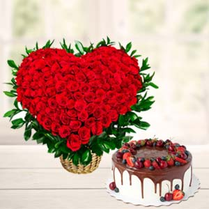 Roses Arrangement With Fruit Cake: Valentine's Day Flowers Biyabani,  Indore