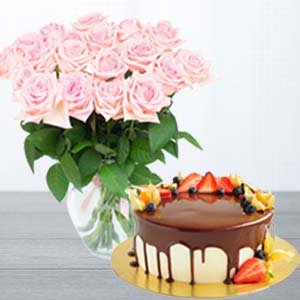 Pink Roses With Chocolate Fruit Cake: Kiss Day Barwali Chowk,  Indore