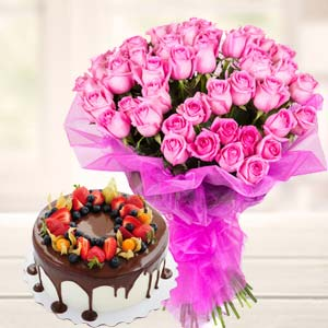 Chocolate Fruit Cake With Pink Roses: Gifts For Sister Army Head Quarter,  Indore