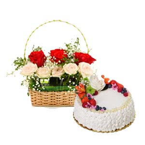 Mix Roses With Fruit Cake: Gifts For Brother Cloth Market,  Indore