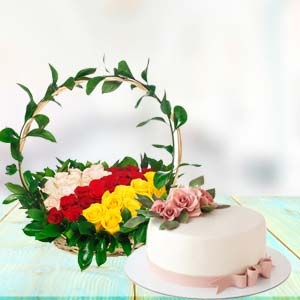 Mix Roses With Cake Combo: Gifts For Sister Raj Mohalla,  Indore