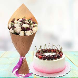 White Roses With Cherry Cake: Gifts For Brother Cloth Market,  Indore