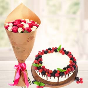 Mix Roses With Cherry Fruit Cake: Anniversary-flowers-&-cake  Indore
