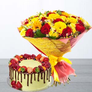 Mix Roses With Butterscotch Fruit Cake: Gifts Malharganj,  Indore