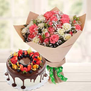 Vanila Chocolate Fruit Cake Combo: Gifts For Him R.s.s.nagar,  Indore