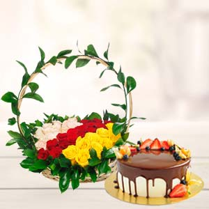 Chocolate Fruit Cake With Roses Basket: Anniversary-flowers-&-cake  Indore