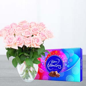 Pink Roses And Chocolates : Gift Indore Cantt,  Indore