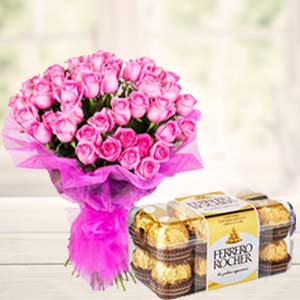 Pink Roses With Ferero Rocher: Gifts For Husband Bijasan Road,  Indore