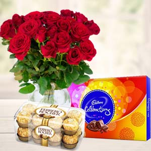 Red Roses With Chocolate Gifts: Gifts For Husband Cloth Market,  Indore