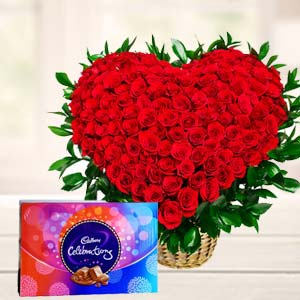 Red Roses With Chocolate Gifts: Anniversary-flowers-&-chocolates  Indore