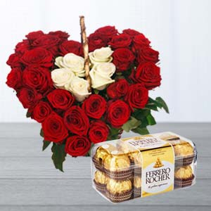 Roses Arrangement With Ferrero Rocher: Gifts For Brother Radio Colony,  Indore