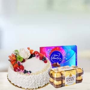 Fruit Cake With Chocolates Combo: Gifts For Sister Collectorate,  Indore