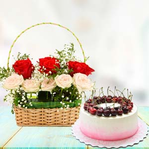 Flowers With Cherry Cake: Gifts For Boyfriend Biyabani,  Indore