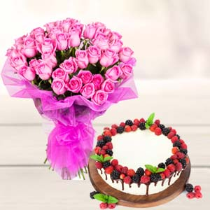 Roses With Cake Gifts Combo: Birthday-cakes  Indore