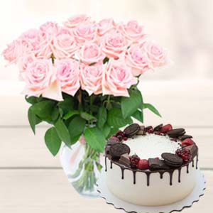 Flowers With Oreo Cake: Birthday  Indore