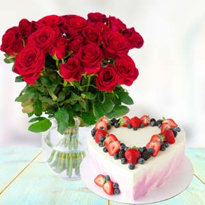Flowers With Heart Shape Cake: Gifts For Brother New Palasia,  Indore