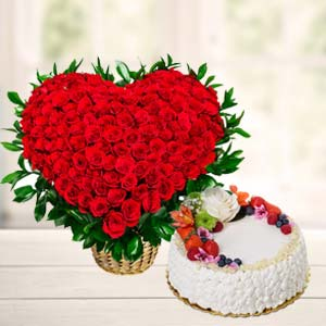 Flowers With Fresh Fruit Cake: Valentine Gifts For Husband Agrawal Nagar,  Indore