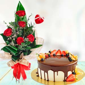 Flowers With Chocolate Fruit Cake: Gifts For Brother Nandagar,  Indore