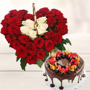 Heart Shape Arrangement With Cake: Gift Indore Cantt,  Indore