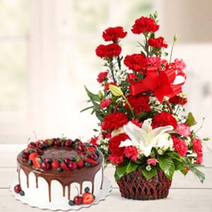 Carnations With Chocolate Cake: Rose Day Raj Mohalla,  Indore