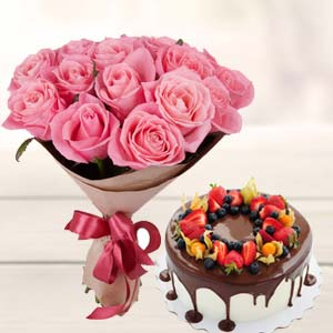Pink Rose Bunch With Cake: Gift Kumar Khadi,  Indore