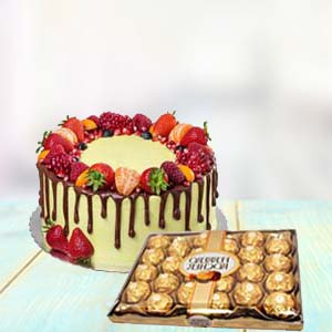Fruit Cake With Yummy Chocolates: Gifts For Brother Radio Colony,  Indore