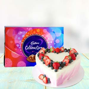 Heart Shape Cake Combo With Chocolates: Kiss Day Bada Sarafa,  Indore