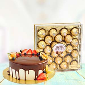 Yummy Chocolates With Fruit Cake: Gifts For Brother Raj Mohalla,  Indore