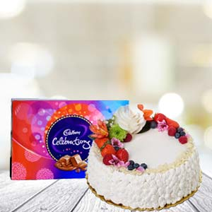 Cake With Celebration Chocolates: Gifts For Brother Tukoganj,  Indore