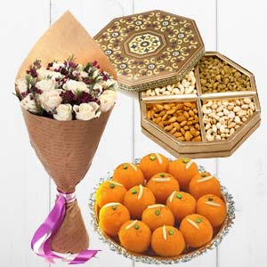 Flower With Dry Fruits And Sweets: Gifts For Brother Nandagar,  Indore
