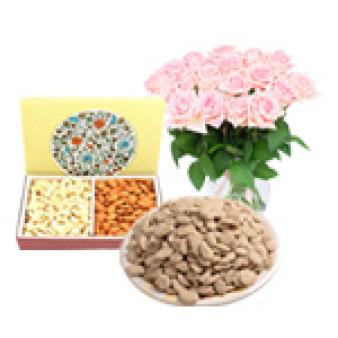 Flower With Dry Fruit And Revdi: Lohri Gifts Indore City,  Indore