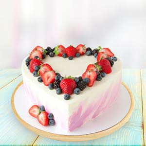 Heart Shape Fruit Cake: Teddy Day Bicholi Mardana,  Indore