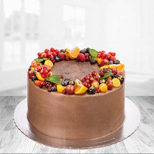 1 KG Chocolate Fruit Cake: Valentine Gifts For Husband Sringar Colony,  Indore