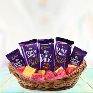 Dairy Silk Chocolate Basket: Kiss Day Kumar Khadi,  Indore