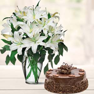 White Lilies And Cake: Gift Baoliakhurd,  Indore